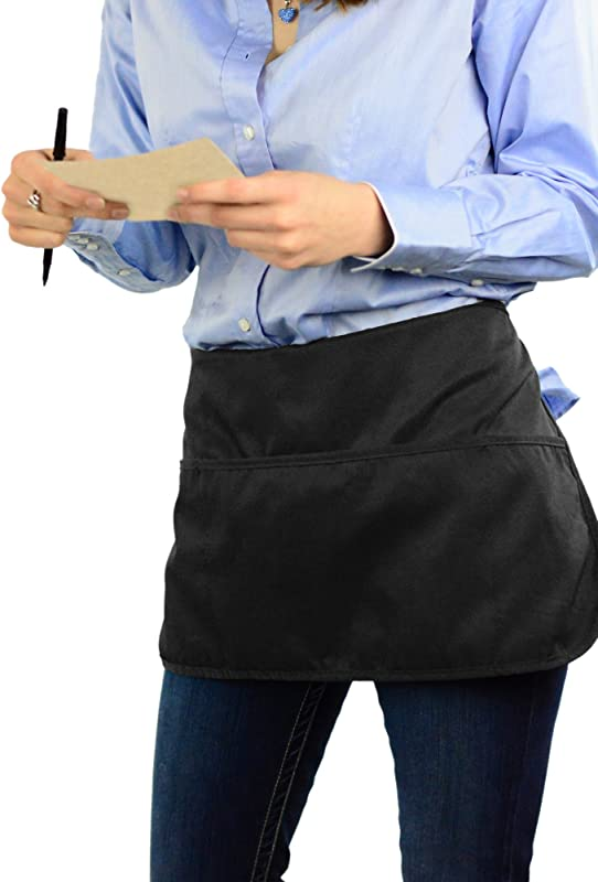 Double Sided 3 Pocket Waist Apron With Pen Holder Waterproof Apron For Severs Bartenders Cooking Crafts Mato Hash