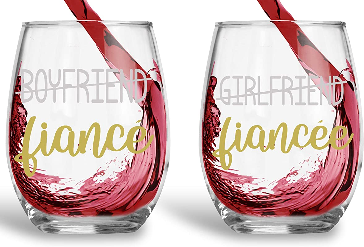 Boyfriend Fiance Girlfriend Fiancee Funny 15oz Crystal Wine Glass Stemless Wine Glass Couples Sets Perfect Idea For Bridal And Engagement Gifts
