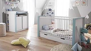 Baby Nursery Room Furniture Set Nandini Set 2 in White matt with Skirtings in Denim matt