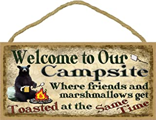 Unoopler Hanging Wooden Sign Campsite Black Bear Where Friends & Marshmallows Get Toasted Sign Camping Wall Plaque 5