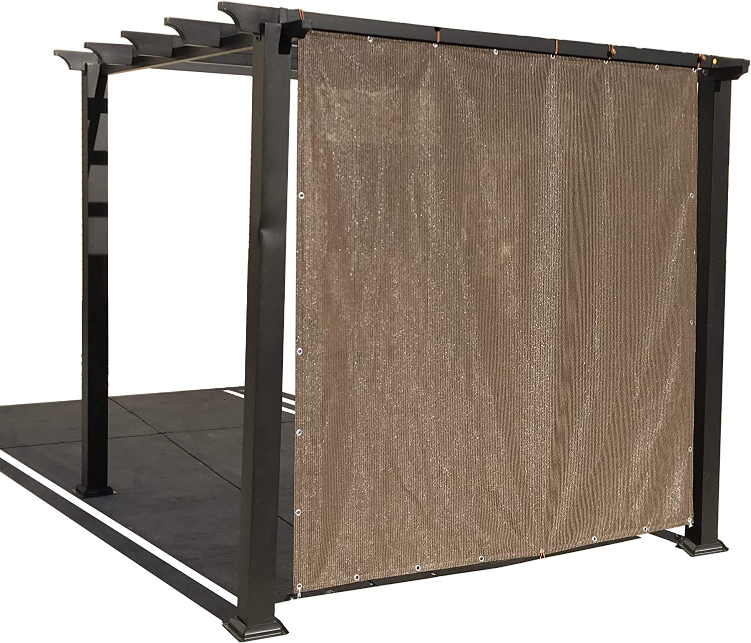Alion Home Sun Shade Privacy Panel with Grommets and Hems on 4 Sides for Patio, Awning, Window, Pergola or Gazebo - Mocha Brown (12' x 10')