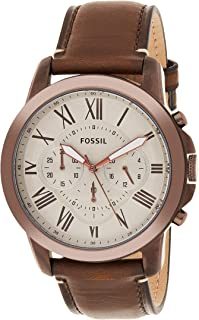 Fossil Mens Analog Quartz Watch with Leather Calfskin Strap FS5344