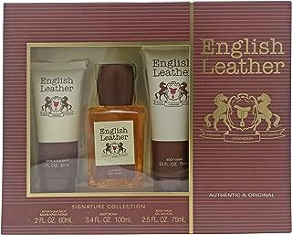 (1 Set) English Leather 3 Piece Gift Set for Men by Dana   Body splash 3.4 oz & aftershave balm 2 oz & body wash 2.5 oz   NIB Gift