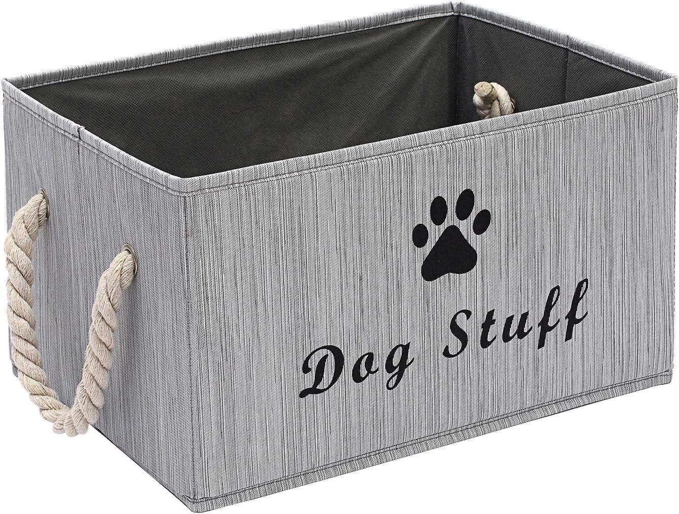 Pethiy - Caja de almacenaje de tela grande con asa de cuerda de algodón, cesta plegable para ropa y accesorios de perro, abrigos de perro, cestas de regalo de juguetes de perro-Gris