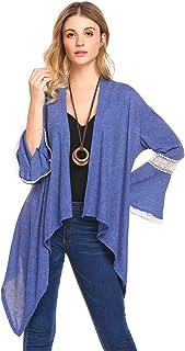 bubblebelle 女式 3/4 喇叭袖镂空前开襟针织开衫