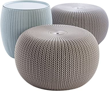 Keter Urban Knit Pouf Ottoman Set of 2 with Storage Table for Patio and Room Décor-Perfect for Balcony, Deck, and Outdoor Sea