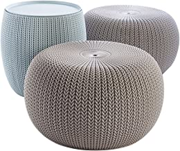 Keter Urban Knit Pouf Ottoman Set of 2 with Storage Table for Patio Decor, Dune/Misty Blue