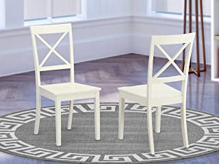 East West Furniture X-Back Chair Set for Dining Room with Wood Seat, Set of 2