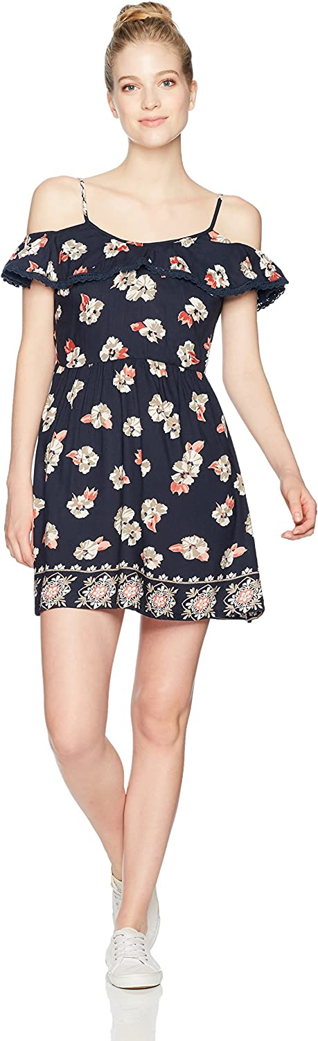 Angie Womens Ruffle Top Sleeveless Floral Dress Sundress Dress
