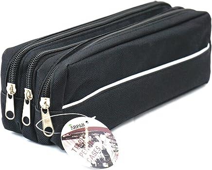 Arpan Triple Pocket Zip Rectangular Large Fabric Pencil Case - School Make-up (Black)