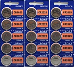15 Genuine Sony CR2025 3v Lithium 2025 Coin Batteries Freshly Packed by Sony