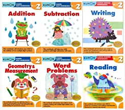 Kumon Grade 2 Complete Set (6 Workbooks) - Addition, Subtraction, Geometry&Measurement, Word Problems, Reading, Writing