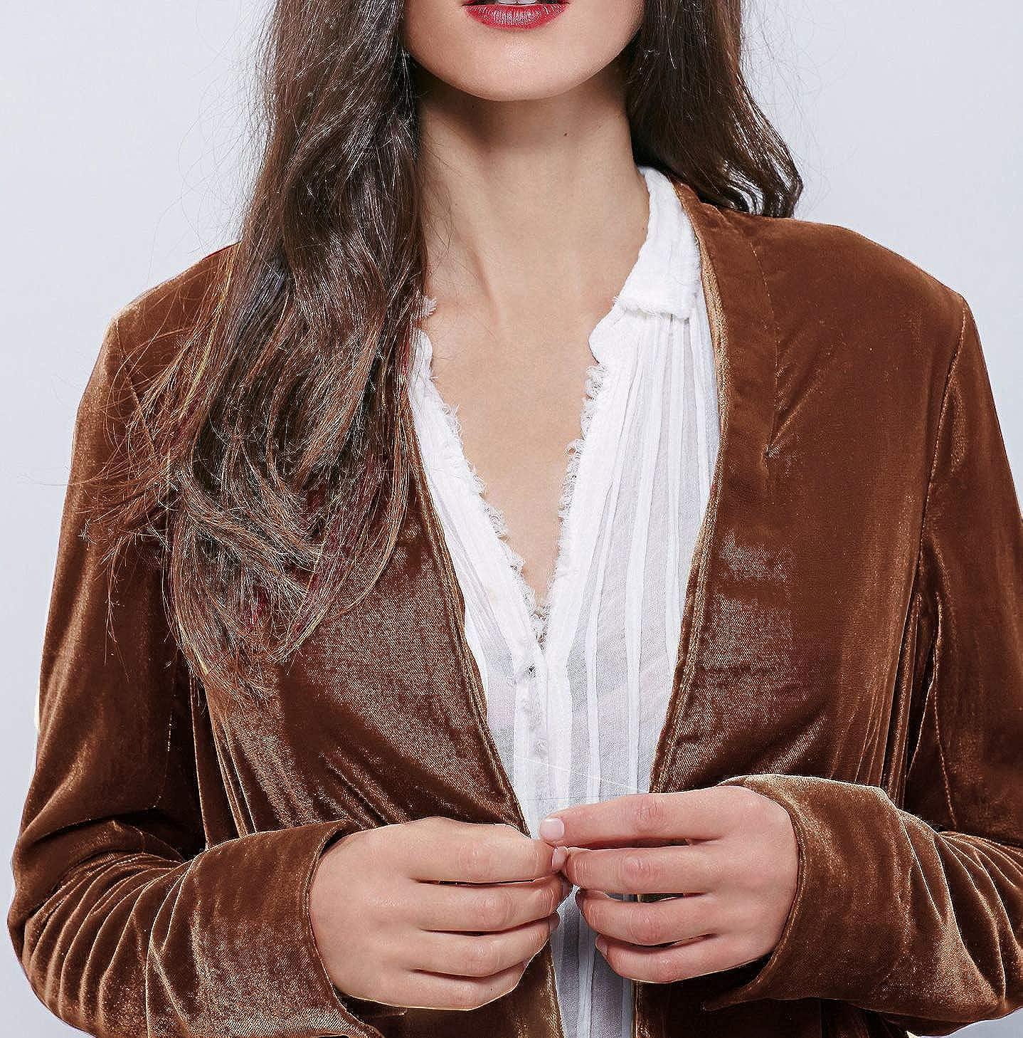 R.Vivimos Damen Samt-Rüsche Mantel Slim-Fit-Anzug Freizeitjacke Mode Klassiker Schwalbenschwanzsaum Braun