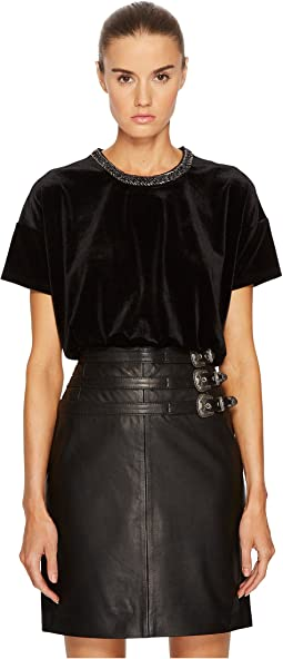 The Kooples - T-Shirt in Velvet with Neck Embroidery