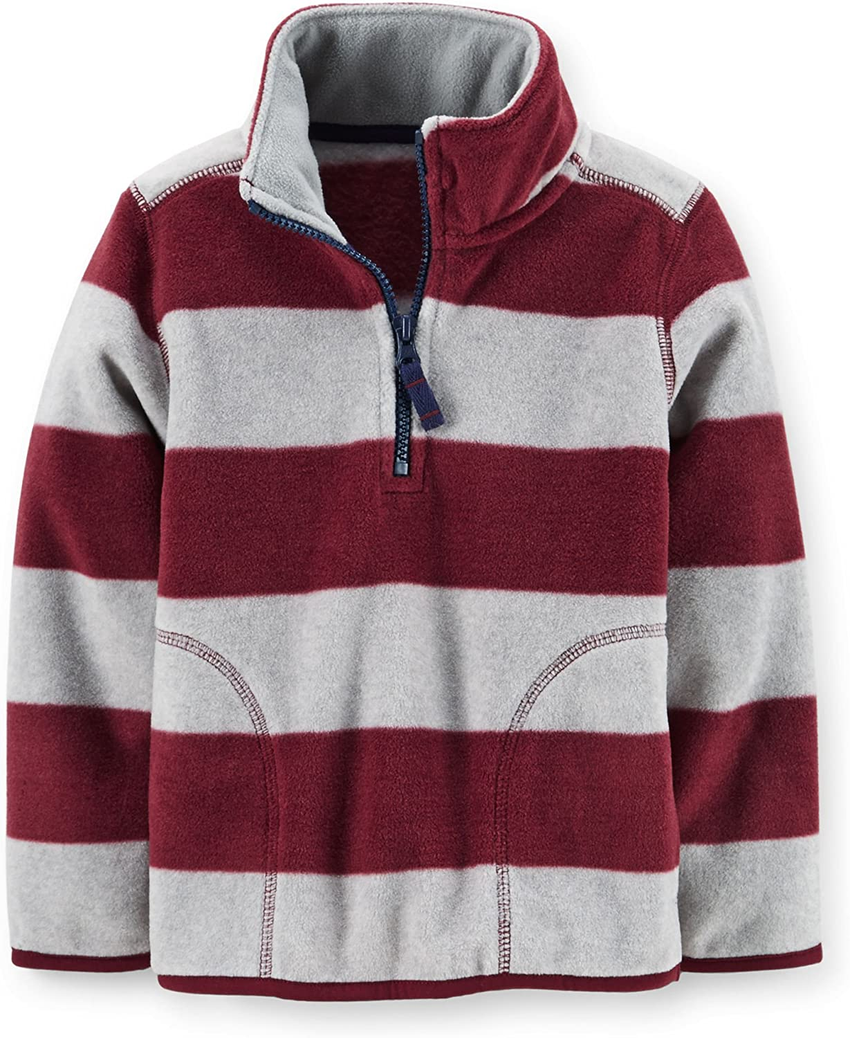 Carter's Baby Boys Microfleece Striped Pullover Jacket (3 Months, Burgundy)