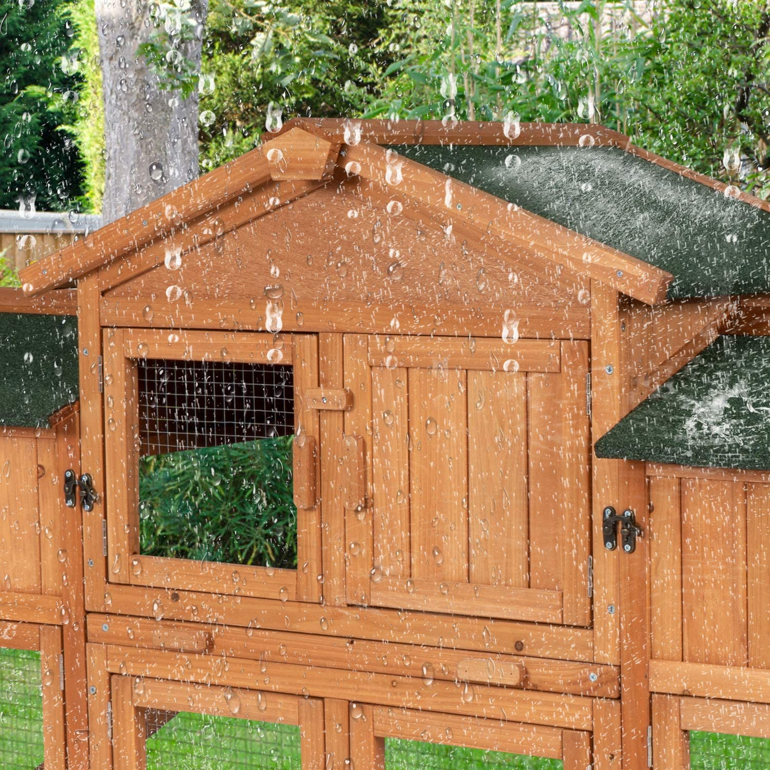 Buy KINTNESS Large Rabbit Hutch Wooden Outdoor Bunny Poultry Cage ...