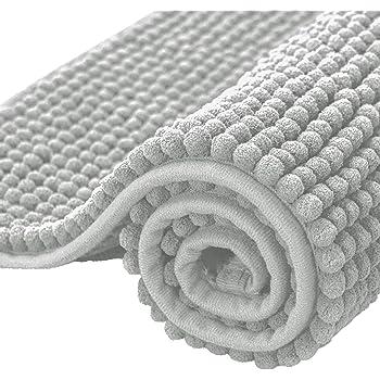 "subrtex Bathroom Rugs Chenille Soft Short Plush Bath Mat Non-Slip Water Absorbent Shower Mat Quick Dry Machine Washable(Light Gray,16"" x 24"")"