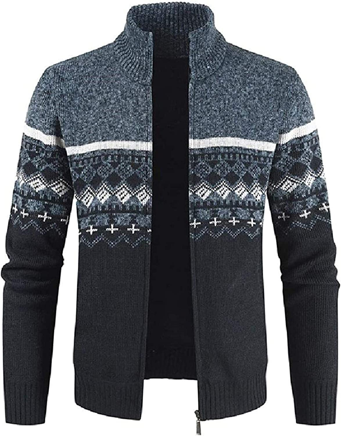 Mens Zip Front Open Front Color Block Stand Collar Slim Fit Knitted Cardigan