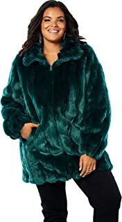 5a0688cefce FREE Shipping. Roamans Women s Plus Size Short Faux-Fur Coat