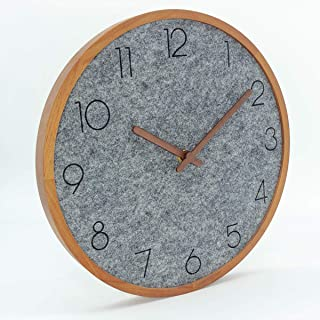 AROMUSTIME 12 Inches Round Wooden Round Wall Clock with Arabic Numerals Felt-Cloth Dial Face & No Glass Panel Whisper Quiet, for Office Kitchen Bedroom Classroom&Living Room, Gray