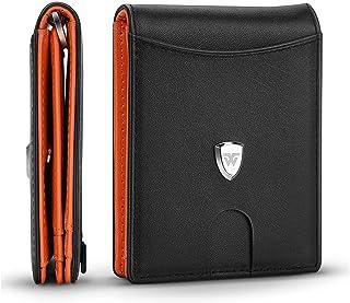 Portafoglio Uomo Piccolo Sottile RFID Blocking Primo Strato Pelle con Tirare Tasca,Fermasoldi,Tasca per Monete,11 Carta di...