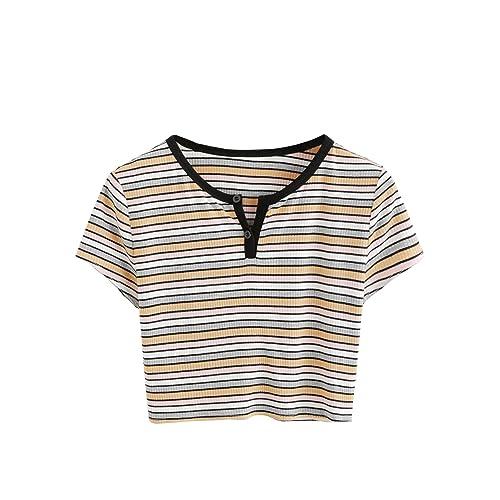 899686cf4e5 DIDK Women's Contrast Neck Rib Knit Striped Crop Tee Top