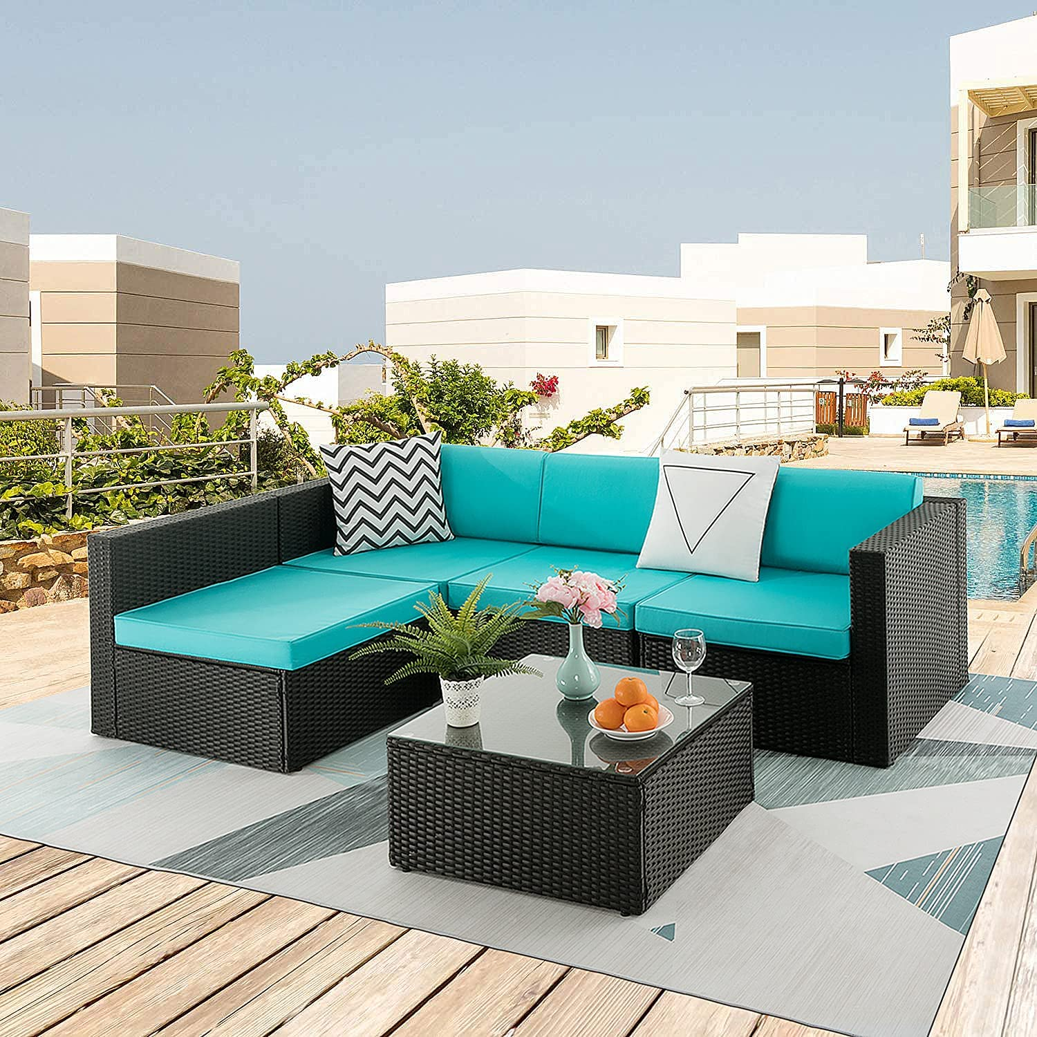 VITESSE 5 Pieces Outdoor 現品 Patio Furniture Sets Outdoo All Weather 卸直営