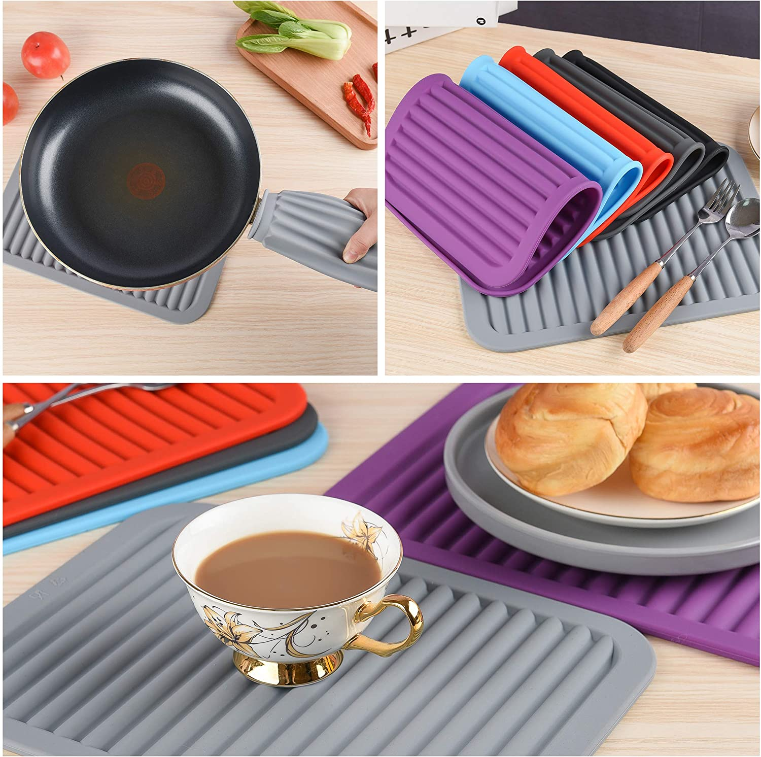 Black Smithcraft Trivets for Hot pots and Pans,Silicone Trivets for Hot Dishes,Mats for Countertop Mat Pads Heat Resistant Table Placemats 2 Pack,Size:9x12 Inch Shape:Rectangular