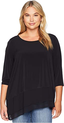 Plus Size 3/4 Sleeve Top Asymmetrical Hem