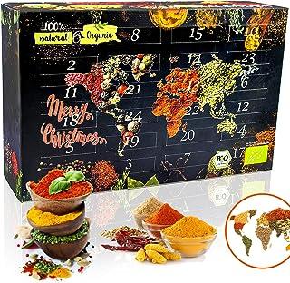C&T BIO Gewürze Weltreise Adventskalender 2020 inkl. Broschüre mit 24 Rezepten als Download - Geschenkidee mit 24 edlen Gewürzspezialitäten und -Mischungen aus ökologischem Anbau - Weihnachts-Kalender