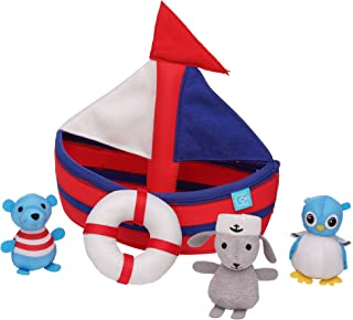 Manhattan Toy 160410 Neoprene Sailboat 4 Piece Floating Spill n Fill Bath Quick Dry Sponges and Squirt Toy, Multicolour