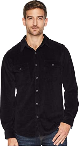 Best Stretch Cord Long Sleeve Two-Pocket Shirt with Contrast Chambray Trim