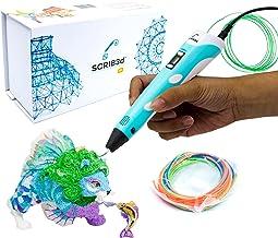 قلم چاپ سه بعدی SCRIB3D P1 با صفحه نمایش - شامل قلم سه بعدی با کیفیت بالا ، 3 رنگ شروع پلاستیک PLA ، راهنمای پروژه کتاب استنسیل و شارژر
