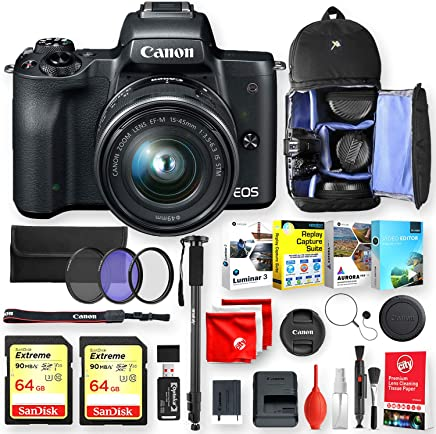 $699 » Canon EOS M50 Mirrorless Camera (Black) with EF-M15-45mm Lens Deluxe Accessory Bundle with 2 64Gb Sandisk Extreme Memory, 4 Editing Software, Backpack, Monopod and Pro Essentials (21pc Total)