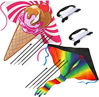 aGreatLife Huge Rainbow Kite and Ice Cream Kite: Double the Fun and Adventure with Two of the Best Selling Easy Flyer Kite...