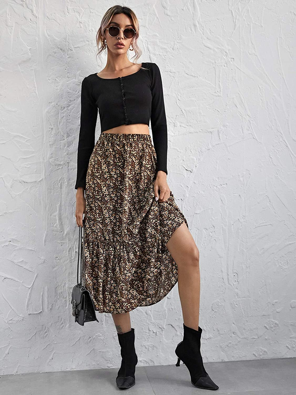 SheIn Women's Ditsy Floral High Elastic Waist Ruffle Hem Frill A Line Long Maxi Skirt