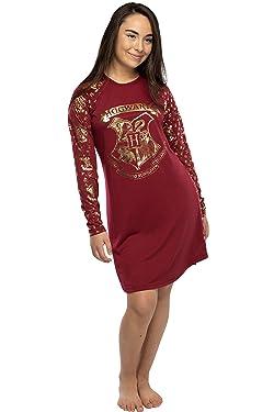 INTIMO Juniors Harry Potter Gold Foil Hogwarts Raglan Night Gown Pajamas