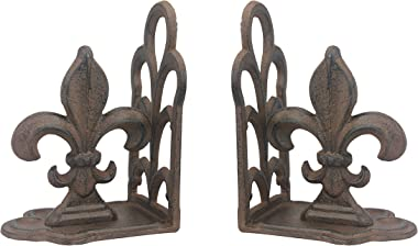 Stonebriar Rustic Cast Fleur de Lis Bookends, Set of 2