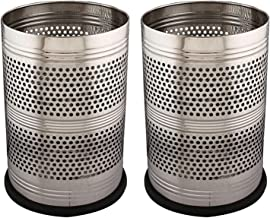 Kuber Industries 2 Piece Stainless Steel Garbage Dustbin, 10 litres, Silver