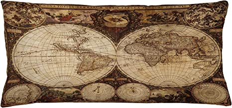 Ambesonne World Map Throw Pillow Cushion Cover, Old World Map Drawn in 1720s Nostalgic Style Art Historical Atlas Vintage Design, Decorative Rectangle Accent Pillow Case, 36 X 16, Pale Brown