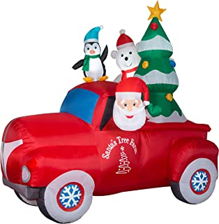 NB Add a Bold Touch to Your Festive Decor with Fun,Adorable,Durable and Easy to Set Up Vintage Truck Inflatable, 8',Lights up for Nighttime Visibility