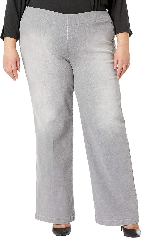 NYDJ Plus Size Pull-On Wide Leg Jeans in Clean Grace