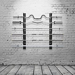 Ollieroo Olympic Barbell Rack Bar Storage, Weight Bar Holder, Barbell Storage, Horizontal Barbell Wall Mount Bar Plate Storage Rack, Holds 6 Barbells, Holds 6 Bars
