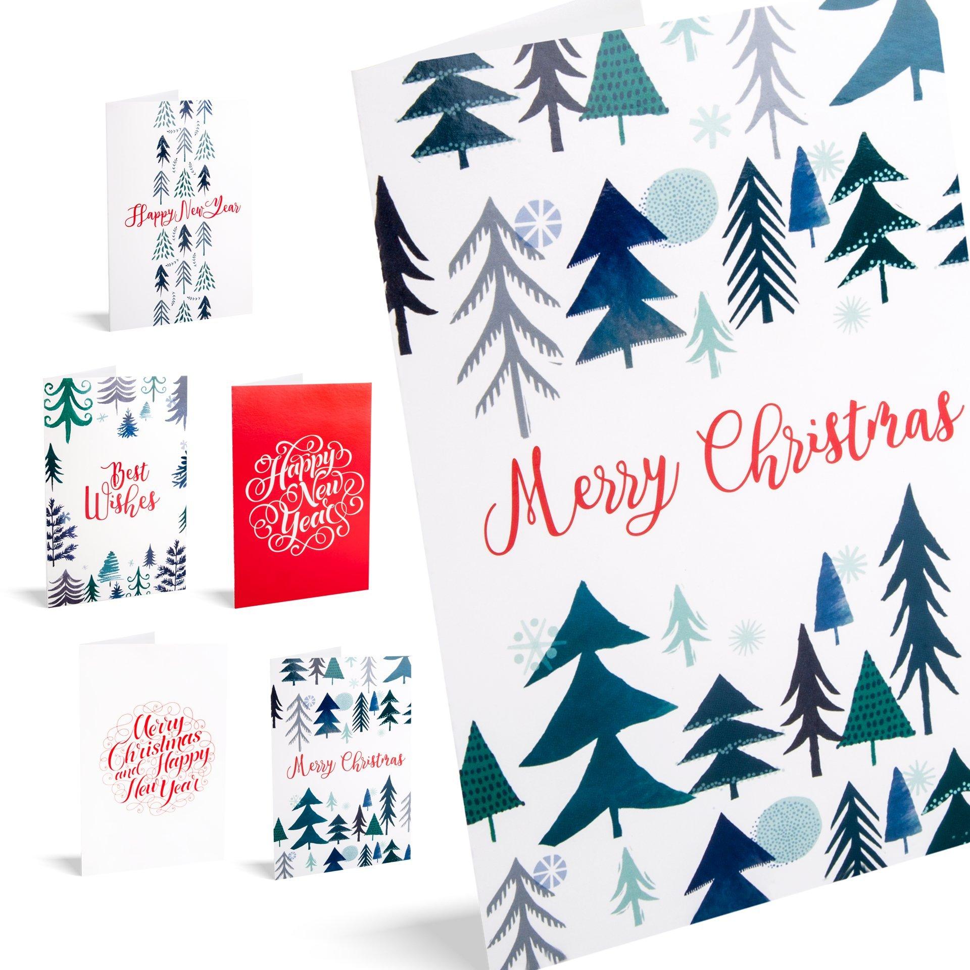 Felicitaciones de navidad trees. Pack De 10 Tarjetas.: Amazon.es: Oficina y papelería