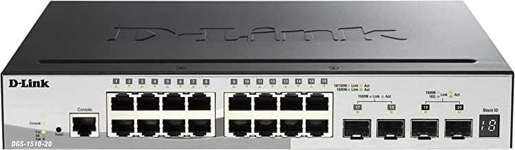 D-Link Ethernet Switch, 20-Port Smartpro Stackable and 2 Gigabit SFP Ports and 2 10GbE SFP+ Ports (DGS-1510-20)