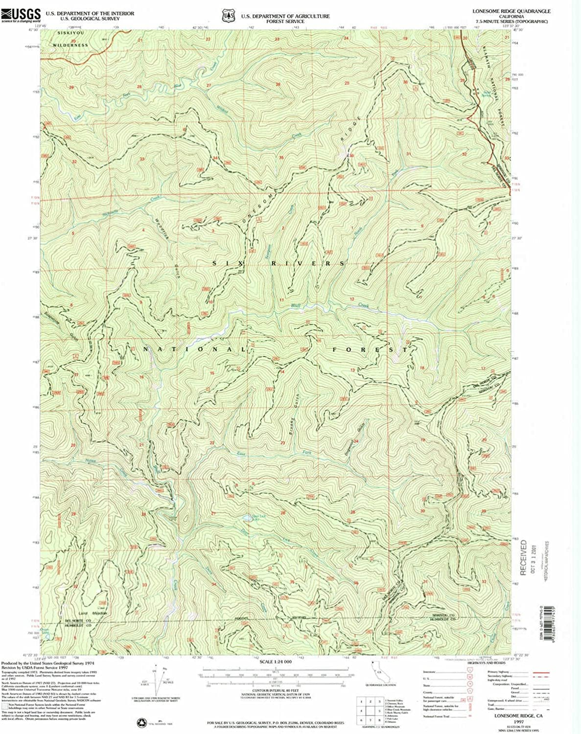 Lonesome Ridge CA topo map, 1 24000 Scale, 7.5 X 7.5 Minute, Historical, 1997, Updated 2001, 26.7 x 21.9 in