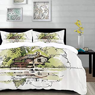 """bedding - Duvet Cover Set,Landscape,Sketch of Lake in The Forest Hand Drawn Composition Vacation,Multi,Hypoallergenic Microfibre Duvet Cover Set Queen/Full 90""""x90"""" with 2 Pillowcase 20"""" x 26"""""""