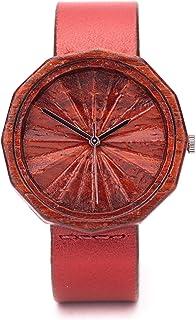 Reloj Rojo, Relojes de Madera Mujer, Reloj Ligero y Elegante, Madera de Nogal, Ovi Watch