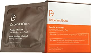 Dr. Dennis Gross Ferulic + Retinol Wrinkle Recovery Peel: for Fine Lines, Wrinkles, Rough Texture, and Imperfections, 16 Packetts