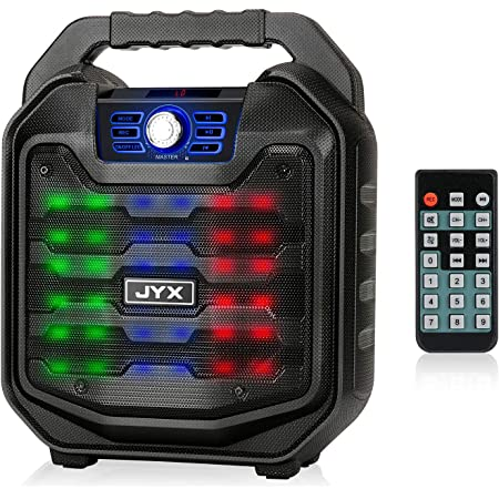 JYX Bluetooth Speaker with Sound Activated Lights and Remote, Portable Wireless Speaker Support MIC Input, FM Radio, REC, USB/TF Card, HD Sound Boombox for Indoor & Outdoor Party/Meeting/School